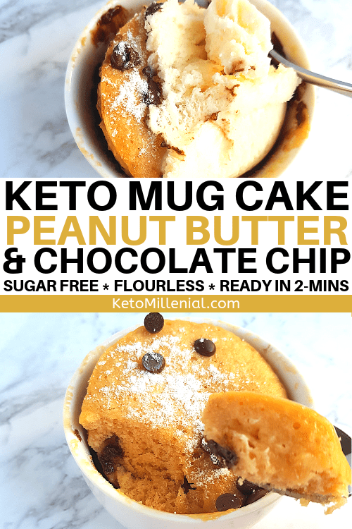 Keto Peanut Butter Chocolate Chip Mug Cake - No Flour